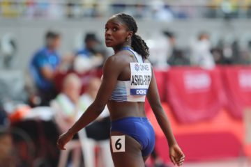 Dina Asher-Smith in the heats of the 100m of the 2019 IAAF World Athletics Championships, Doha