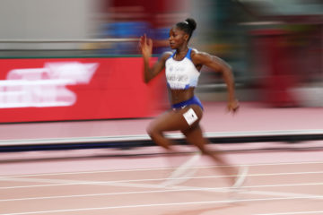 Dina Asher Smith in the final of the 200m at the IAAF World Athletics Championships, Doha 2019
