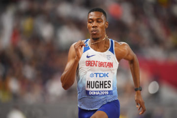 Zharnel Hughes in the M100m heats at the 2019 World Athletics Championships, Doha