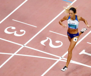 Katarina Johnson-Thompson in the 800m of the Heptathlon at the IAAF World Athletics Championships, Doha 2019