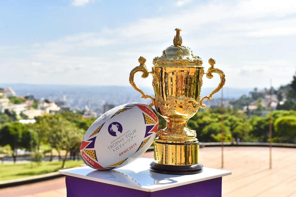 Webb Ellis Trophy on the Rugby World Cup 2019 Trophy Tour