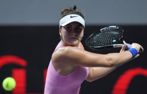Bianca Andreescu in her first round-robin match at the 2019 WTA Finals in Shenzhen, China
