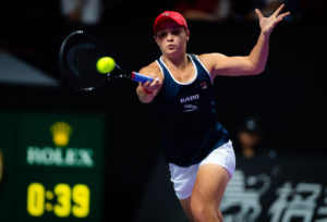 Ashleigh Barty in her first round-robin at the Shenzhen WTA Finals, China