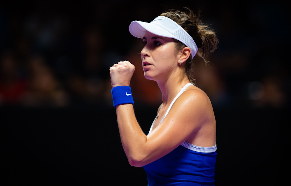 Belinda Bencic in the second round-robin match of the 2019 WTA Finals in Shenzhen, China