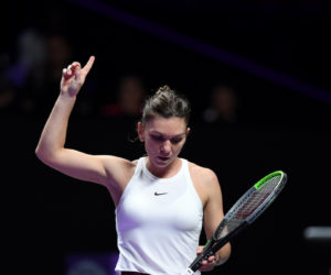 Simona Halep in her first round-robin match at the 2019 WTA Finals in Shenzhen, China