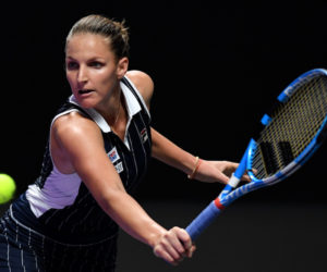 Karolina Pliskova in the first round-robin match at the 2019 WTA Finals in Shenzhen, China