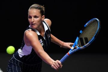 Karolina Pliskova in the first round-robin match at the 2019 WTA Finals in Shenzhen, China