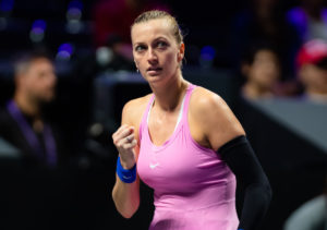 Petra Kvitova in her first round-robin match at the WTA Finals 2019 in Shenzhen, China