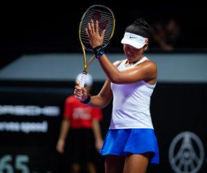 Naomi Osaka in her first round-robin match of the WTA Finals 2019 Shenzhen, China