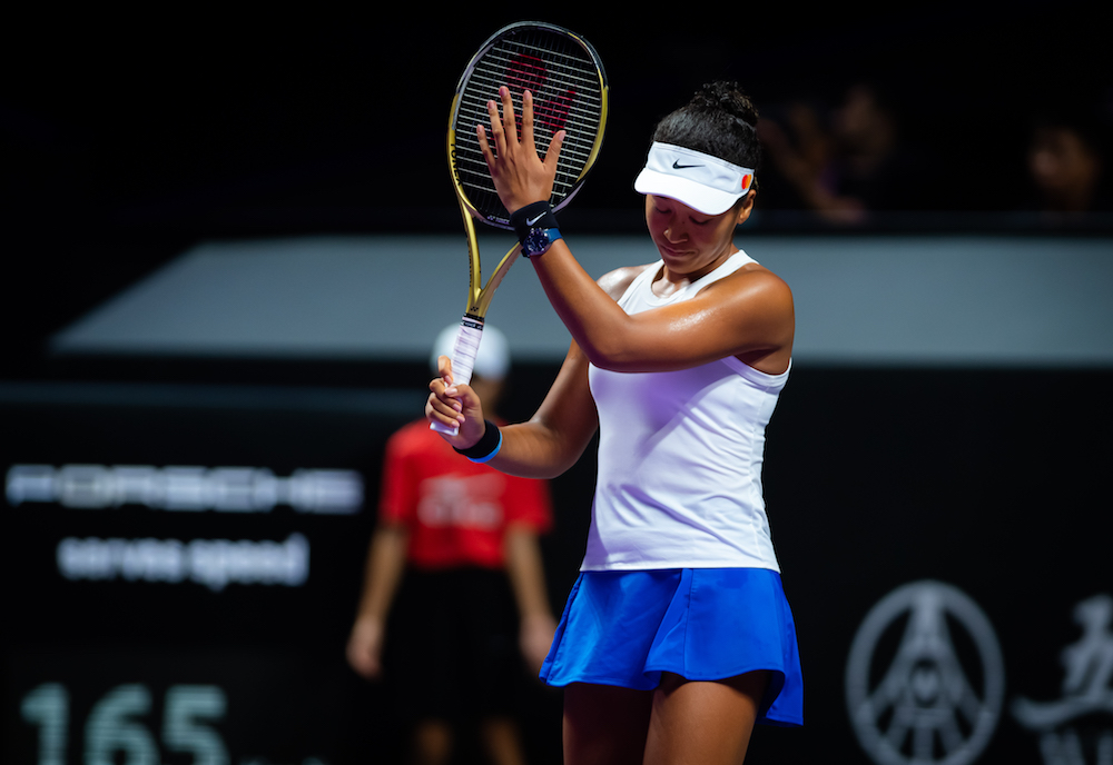 Naomi Osaka in her first round-robin match of the WTA Finals 2019 Shenzhen, China
