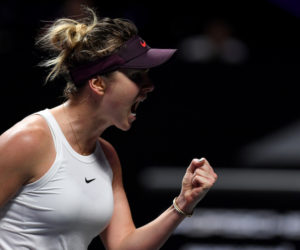 Elina Svitolina in her first round-robin match at the 2019 WTA Finals in Shenzhen, China