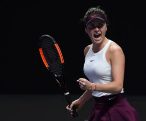 Elina Svitolina in the second round-robin match at the 2019 WTA Finals in Shenzhen, China