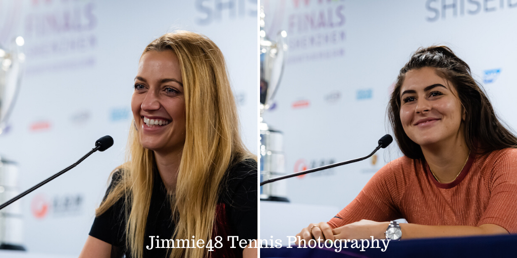 Composite of Petra Kvitova and Bianca Andreescu at the WTA Finals 2019, Shenzhen