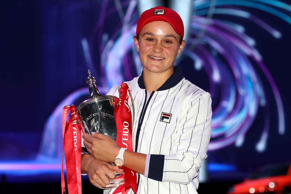 Ashleigh Barty with the Billie Jean King Trophy at the 2019 WTA Finals in Shenzhen, China