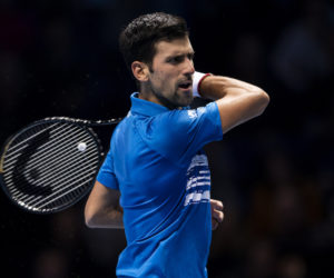 Novak Djokovic in the first round-robin match at the 2019 Nitto ATP Finals, London