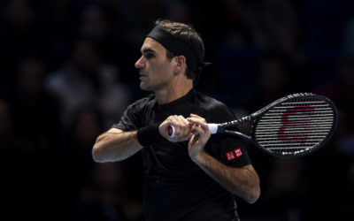 Roger Federer in the third round-robin match at the 2019 Nitto ATP Finals, London