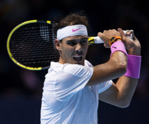 Rafael Nadal in the first round-robin match at the 2019 Nitto ATP Finals in London