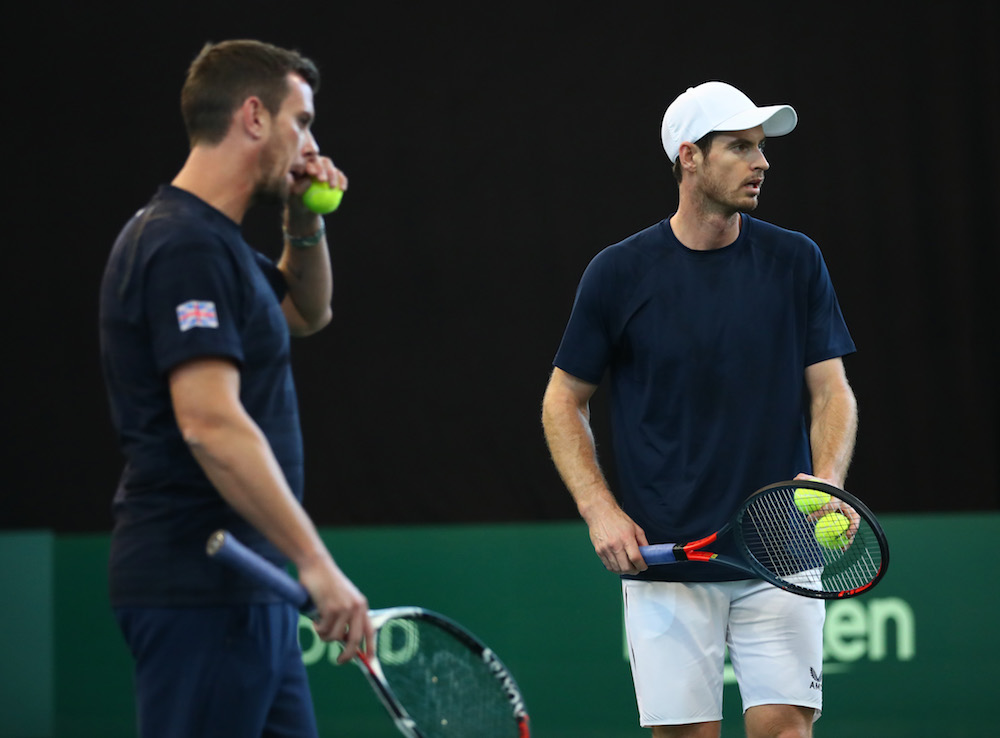 Leon Smith and Andy Murray in a GB practice session at the 2019 Davis Cup Finals, Madrid