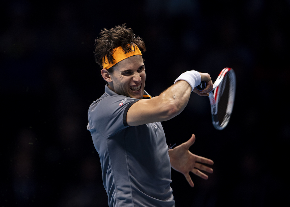 Domininc Thiem in the first round-robin match at the 2019 Nitto ATP Finals, London