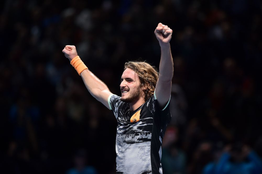 Stefanos Tsitsipas after winning the singles title at the 2019 Nitto ATP Finals, 2019