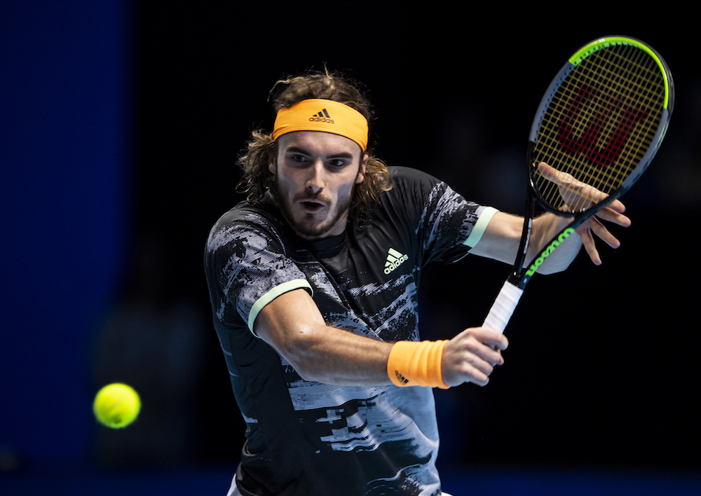 Stefanos Tsitsipas in the first round-robin match at the 2019 Nitto ATP Finals, London