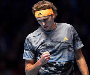 Alexander Zverev in the first round-robin match at the 2019 Nitto ATP Finals, London