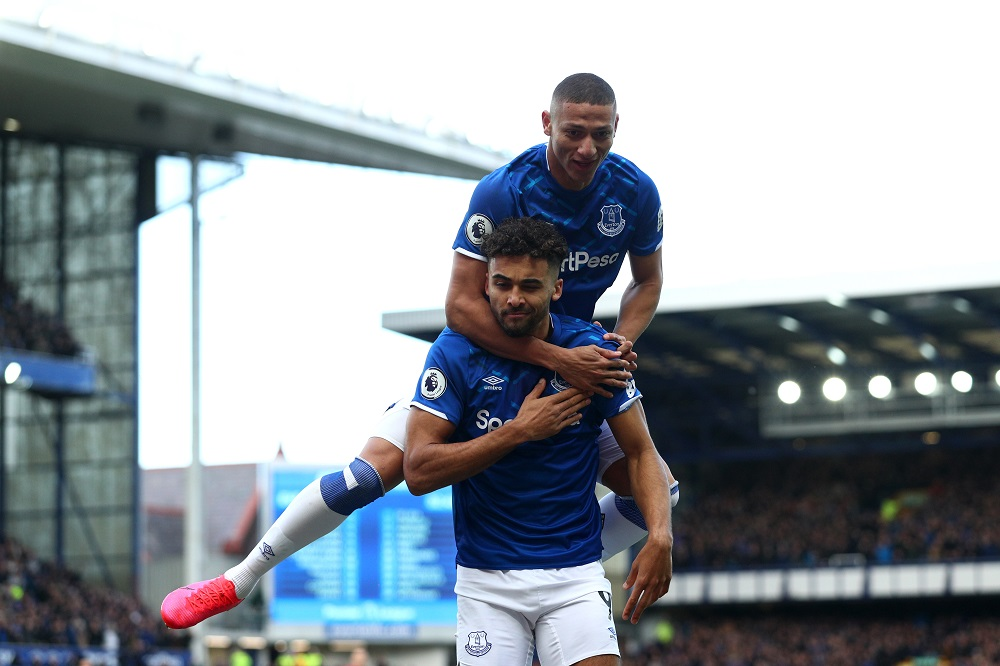 Dominic Calvert-Lewin & Richarlison in the Premier League match between Everton and Manchester United, 2020