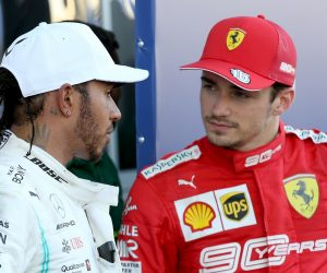 Lewis Hamilton and Charles Lecrec at the Russian GP 2019