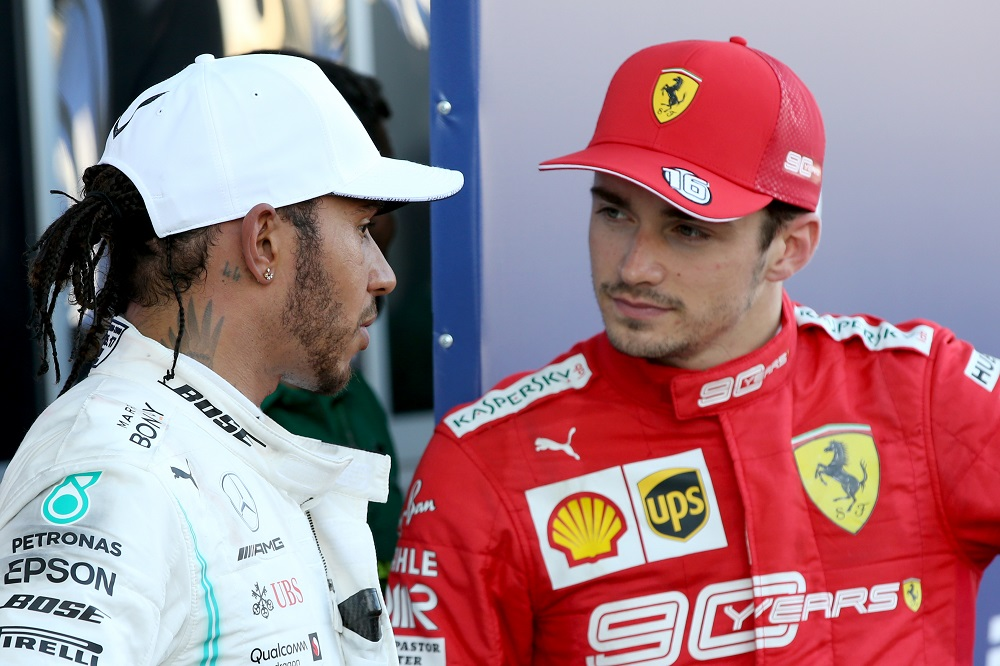Lewis Hamilton and Charles Lecrec at the Russian GP 2019