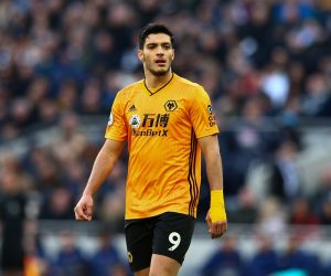 Raul Jimenez in the Premier League match between Tottenham Hotspur and Wolverhampton Wanderers, 2020