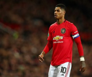 Marcus Rashford in the Carabao Cup semi-final between Manchester United and Manchester City, 2020