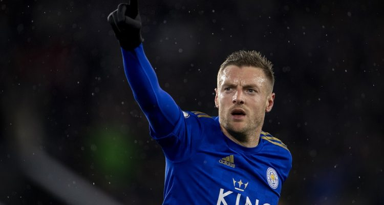 Jamie Vardy in the Premier League match between Leicester City & Aston Villa, 2020