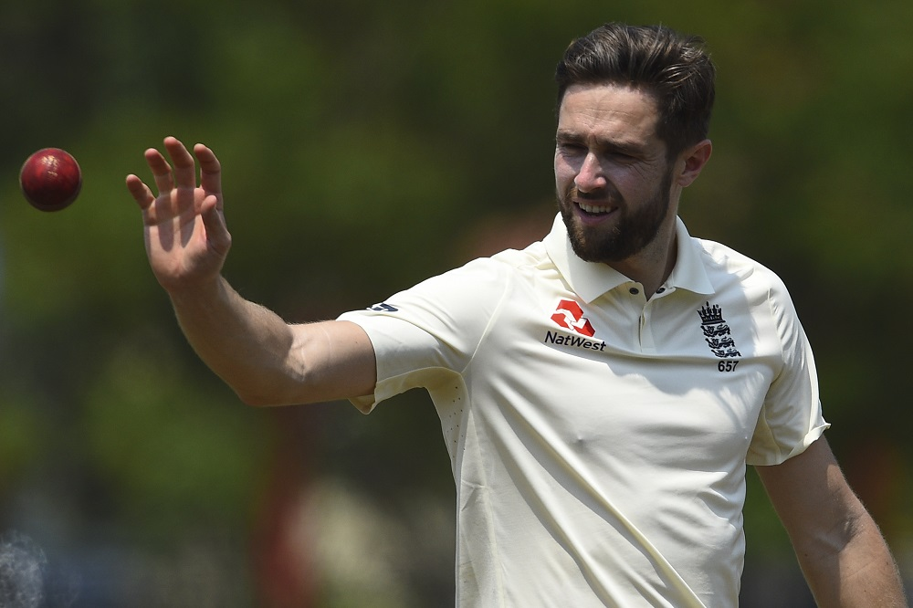 Chris Woakes during a practice match against Sri Lanka 2020
