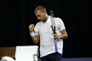Dan Evans on Day 3 of the Schroders Battle of the Brits in London, England