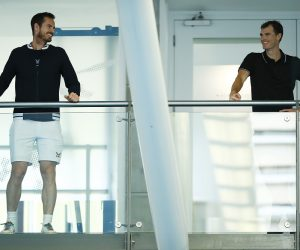 Andy and Jamie Murray ahead of Schroders Battle of the Brits at the National Tennis Centre, London, England