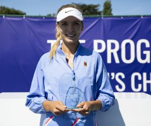 Katie Boulter after winning the Premier title at the Progress Tour Women's Championships 2020, Roehampton UK