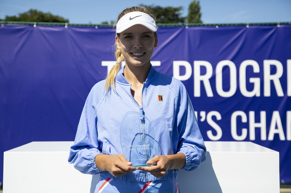 Katie Boulter after winning the Premier title at the Progress Tour Women's Championships 2020, Roehampton UK