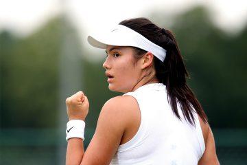 Emma Raducanu in the qualifying rounds of Wimbledon 2019, London