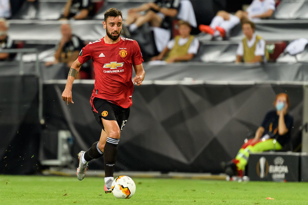Bruno Fernandes in the UEFA Europa League quarter-final, August 2020