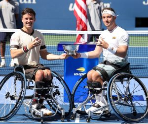 Aflie Hewett & Gordon Reid win the Men's Wheelchair Doubles title at the 2020 US Open in New York, USA