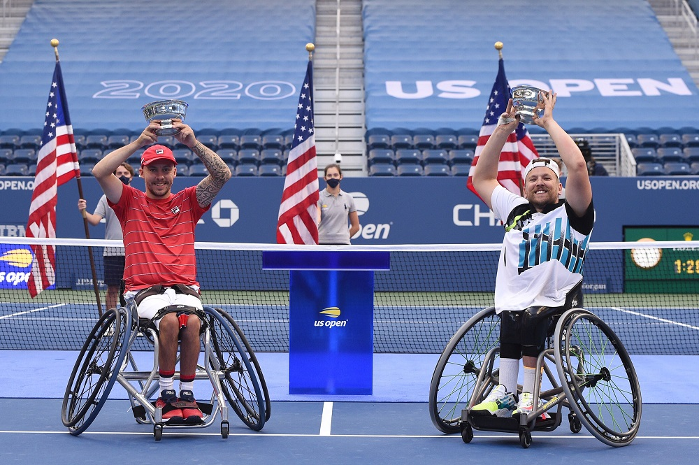 Andy Lapthorn and Dylan Alcott win the Quads Doubles title at the 2020 US Open in New York, USA