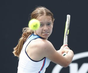 Matilda Mutavdzic in the first round of the Junior Girls tournament at the 2020 Australian Open, Melbourne
