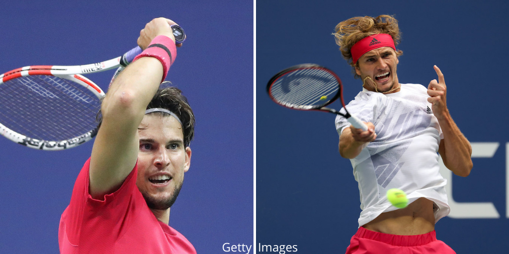 Dominic Thiem (l) and Alexander Zverev (r) will contest the men's singles final at the 2020 US Open in New York, USA