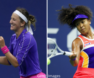 Victoria Azarenka (l) and Naomi Osaka (r) will contest the 2020 US Open Women's Singles Final in New York, USA