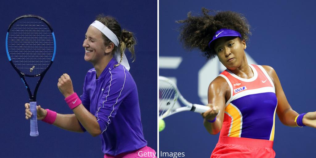 Victoria Azarenka (l) and Naomi Osaka (r) will contest the 2020 US Open Women's Singles Final in New York, USA