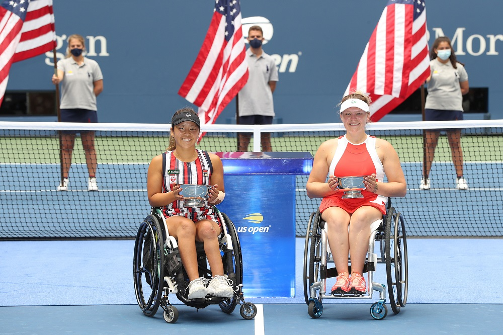Jordanne Whiley & Yui Kamiji win the Women's Wheelchair Doubles title at the 2020 US Open in New York, USA