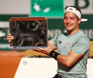 Alfie Hewett after winning the Men's Singles Wheelchair Event at the 2020 Roland Garros, Paris, France