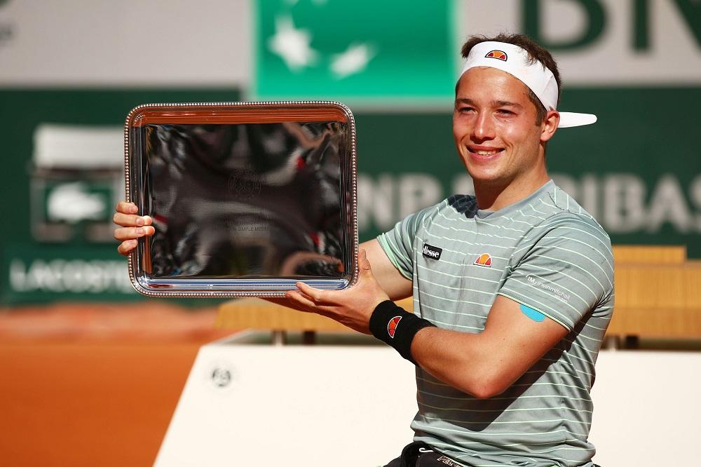 Alfie Hewett after winning the Men's Singles Wheelchair Event at the 2020 Roland Garros, Paris, France