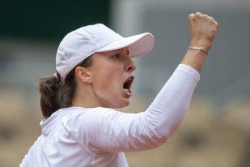 Iga Swiatek in the semi-final of 2020 Roland Garros in Paris, France