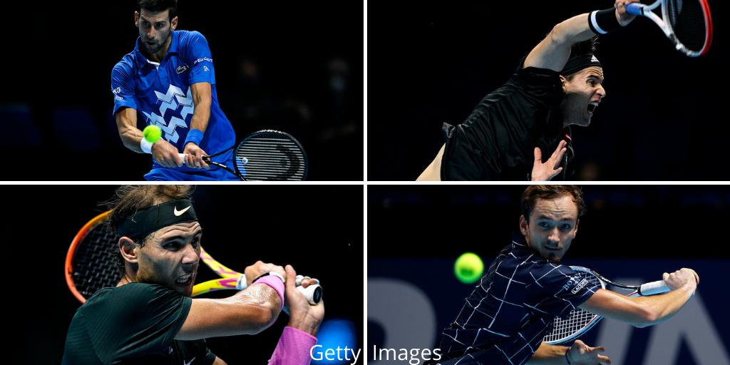 The semi-finalists of the 2020 Nitto ATP Finals - Novak Djokovic, Rafael Nadal, Dominic Thiem & Daniil Medvedev